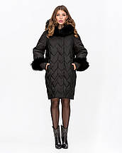 Женская зимняя куртка с мехом из водоотталкивающей плащевки 44-52рр, фото 3