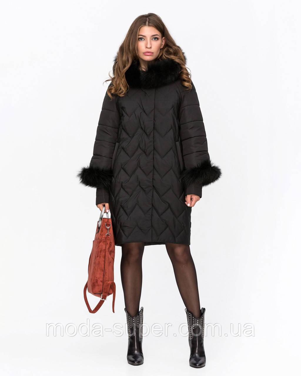 Женская зимняя куртка с мехом песца 44-52рр