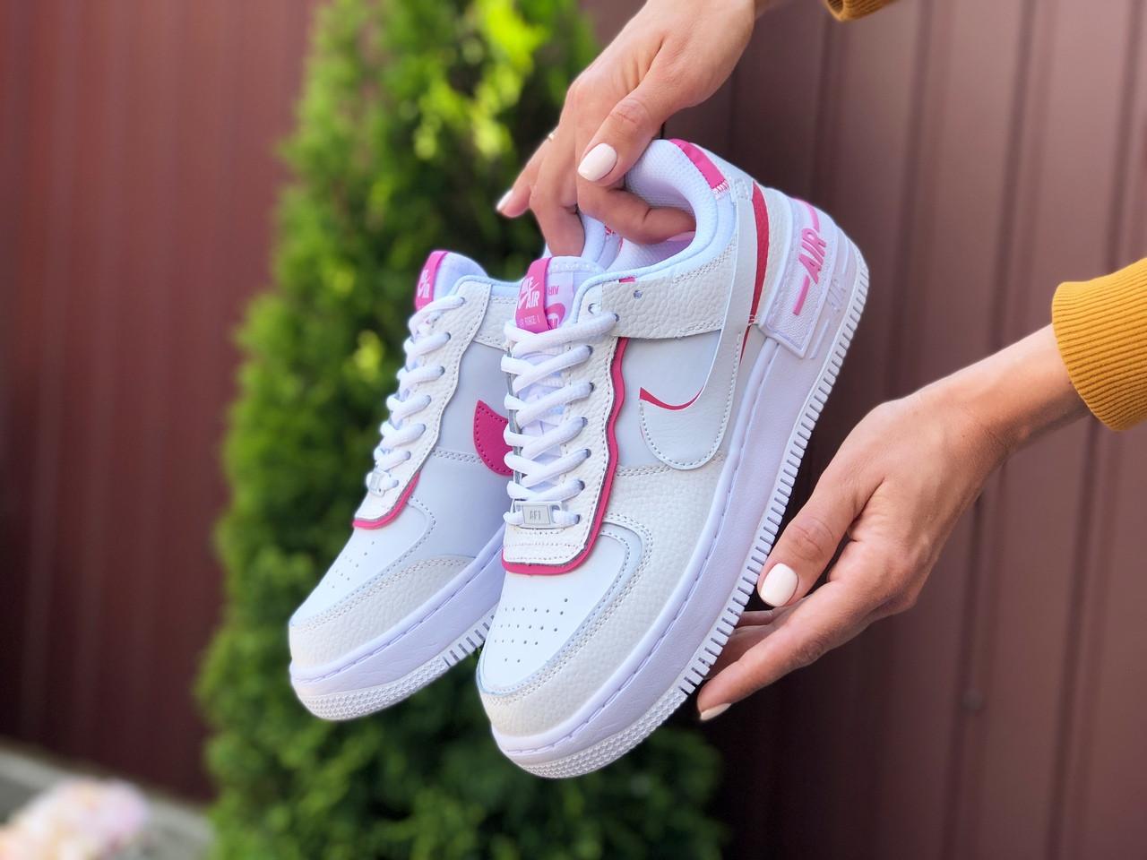 Женские кроссовки Nike Air Force 1 Shadow (бело-малиновые) 9473