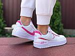 Женские кроссовки Nike Air Force 1 Shadow (бело-малиновые) 9473, фото 2