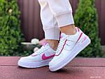 Женские кроссовки Nike Air Force 1 Shadow (бело-малиновые) 9473, фото 3