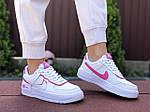 Женские кроссовки Nike Air Force 1 Shadow (бело-малиновые) 9473, фото 4