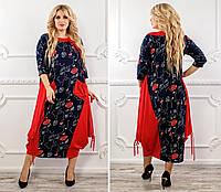 Женское платье комбинированное,свободного кроя рр 48-76