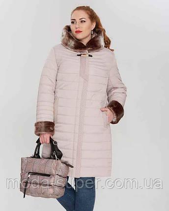 Зимняя  куртка с эко-мехом мутона  рр 50-62, фото 2