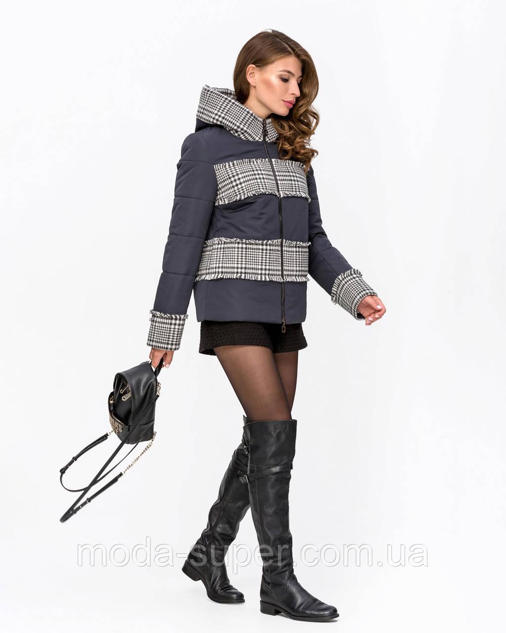 Женская куртка комбинированная с твидом рр 42-50