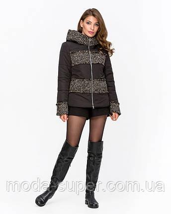 Женская куртка комбинированная с твидом рр 42-50, фото 2