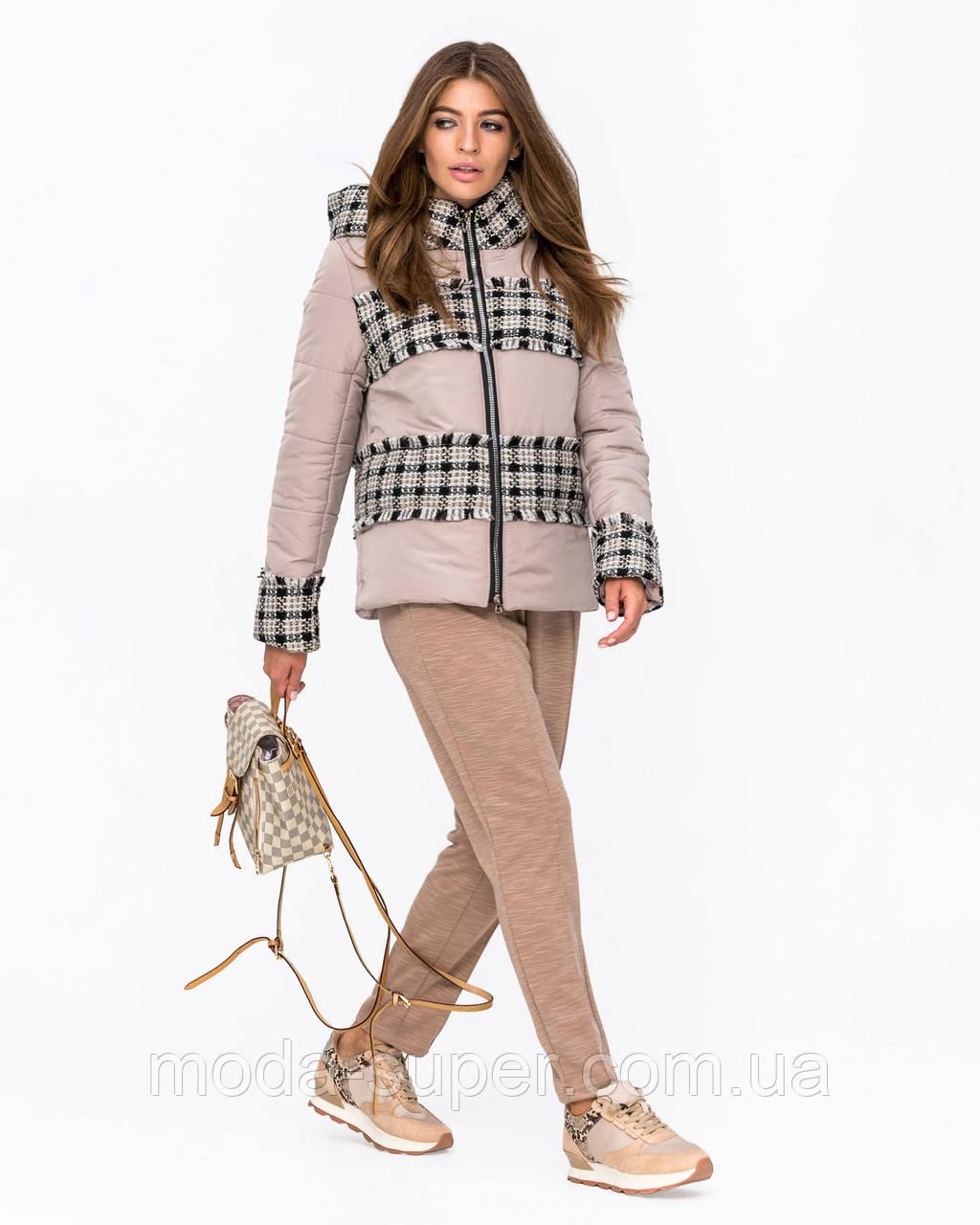 Жіноча куртка комбінована з твидом рр 42-50
