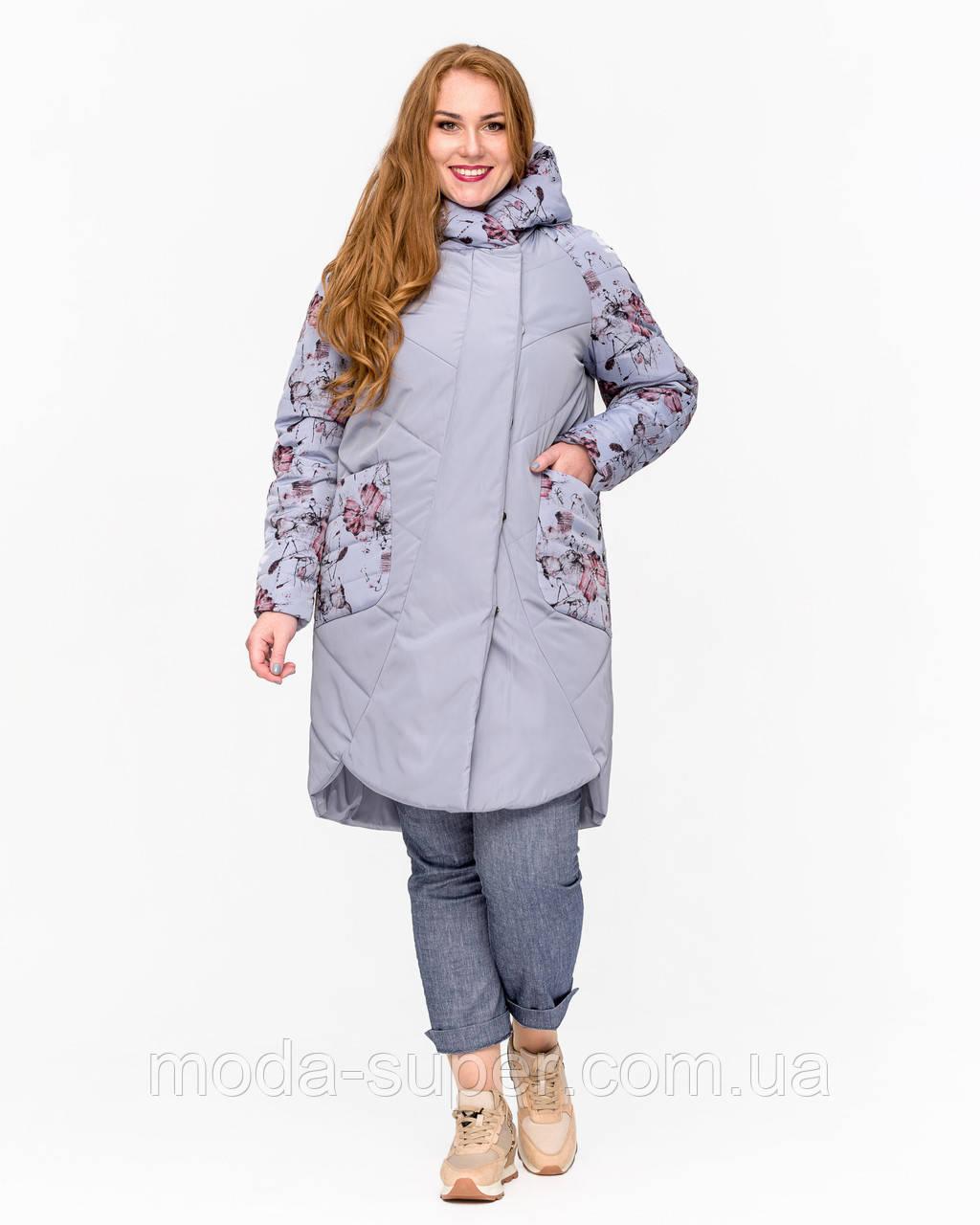 Женская куртка с принтом  рр 46-58