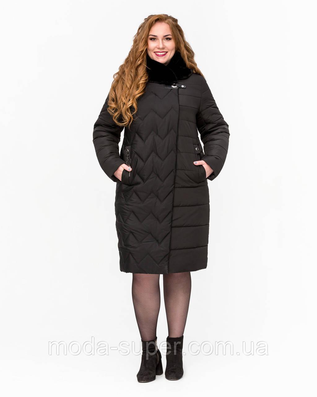 Зимова куртка із штучним хутром мутон рр 52-64