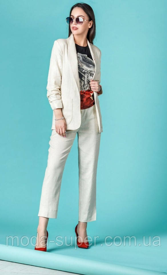 Стильный костюм из ткани лен  рр S-XL