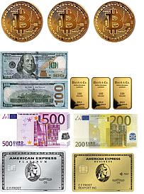 American Express/Биткойн/Слитки/Валюта