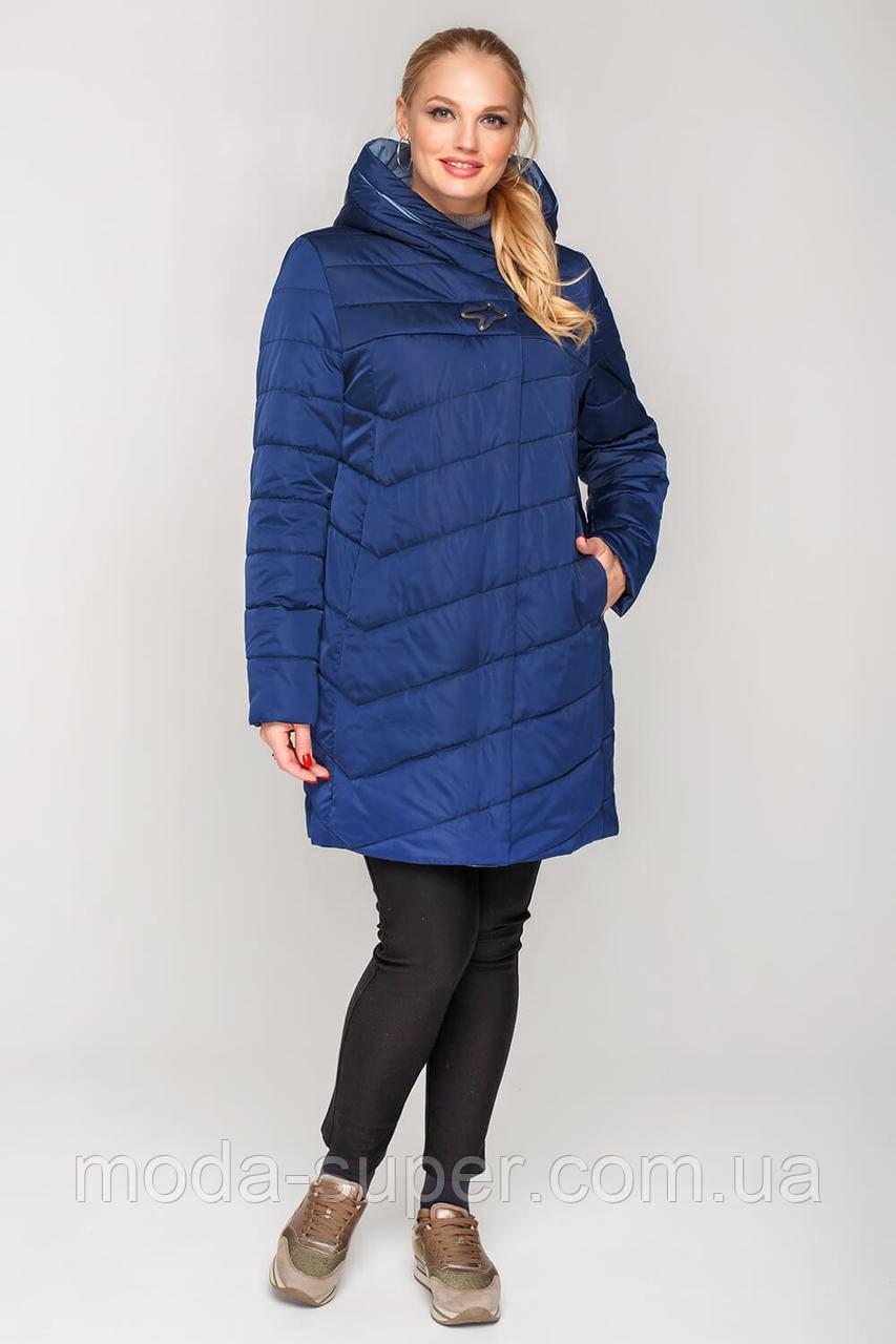 Женская  куртка с вшитым капюшоном большие размеры рр 50-60