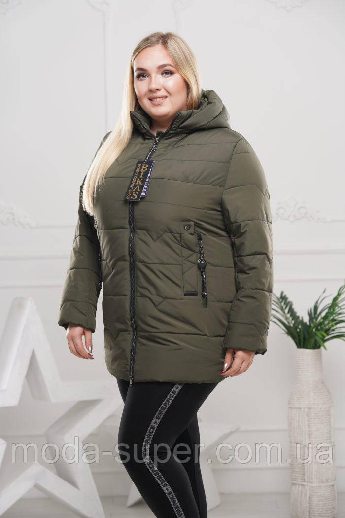 Женская куртка с отстежным капюшоном рр 50-64