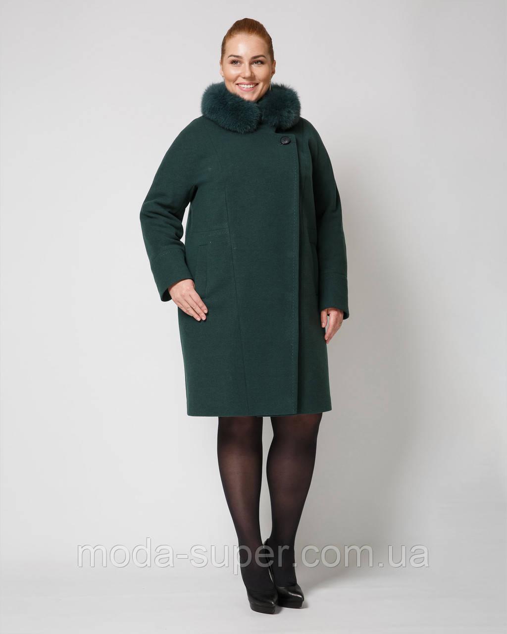 Женское зимнее пальто с мехом на воротнике  рр 48-58