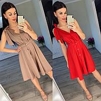Женское летнее короткое платье сарафан красное мокко на завязках 42-44 44-46