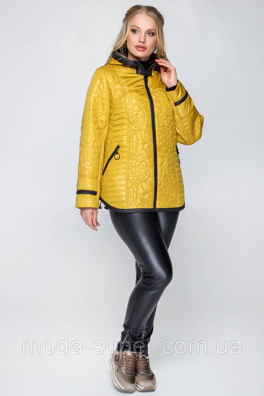 Женская куртка деми с вшитым капюшоном рр 50-60