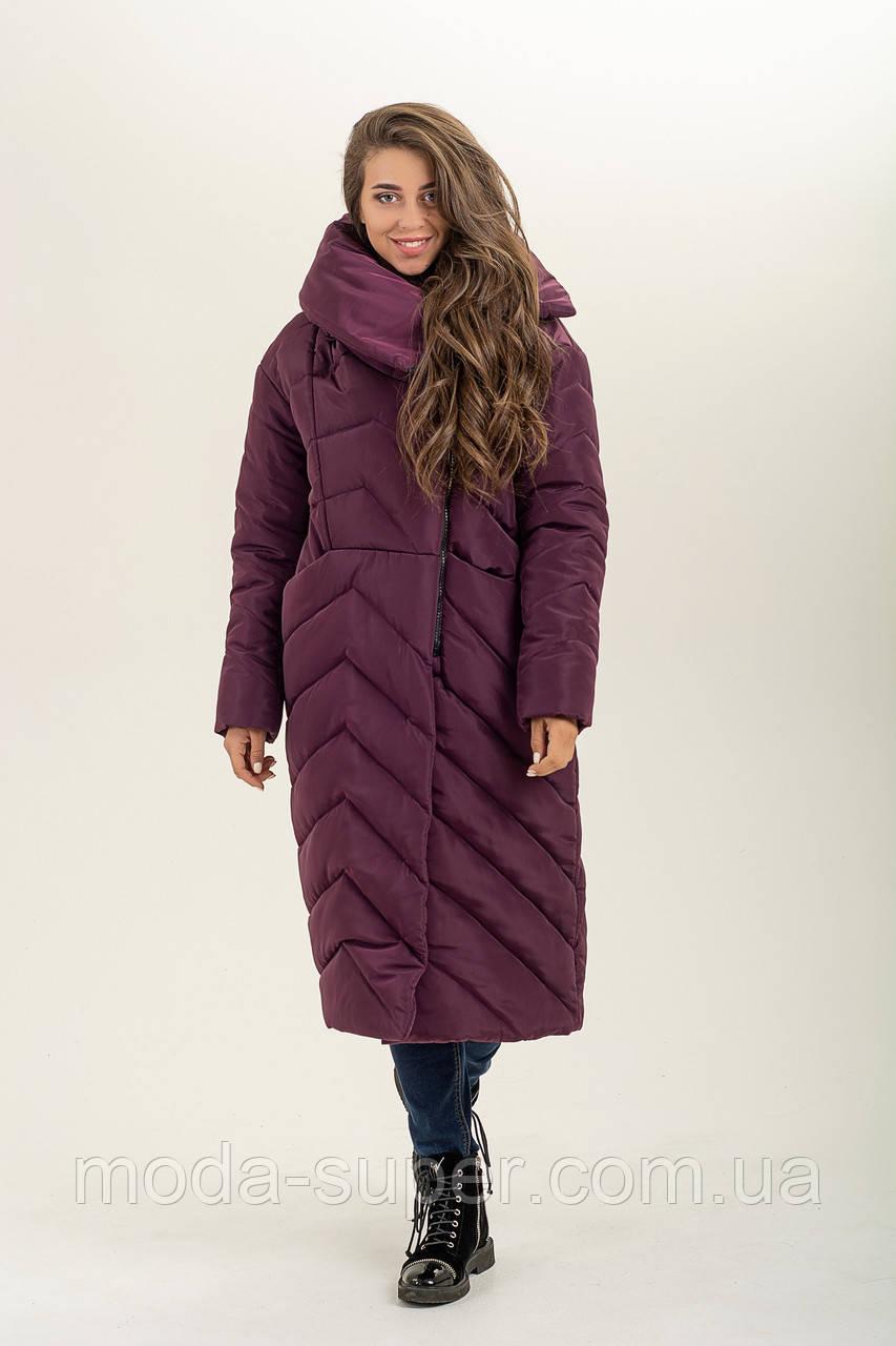 Зимова куртка-ковдра з об'ємним коміром рр 46-56