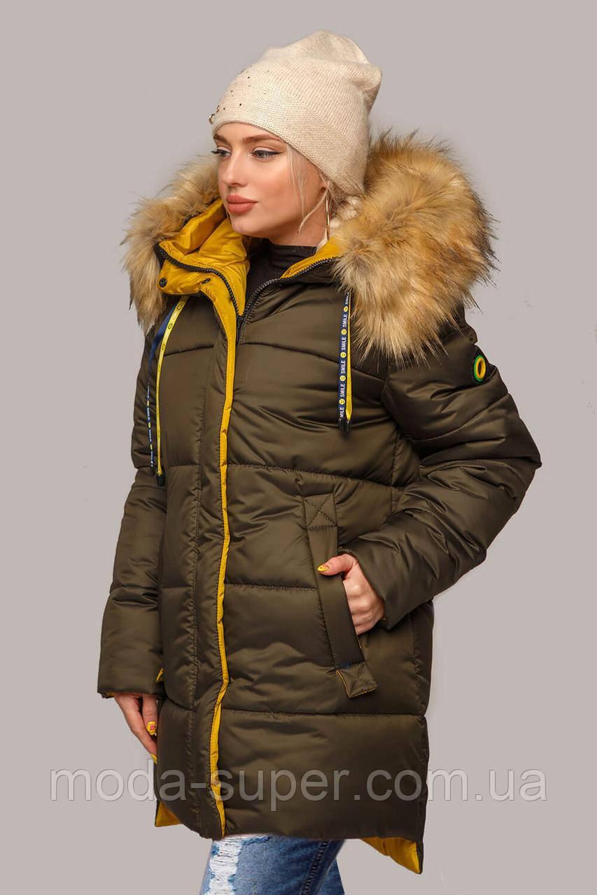 Жіноча зимова куртка з еко-хутром рр 44-56