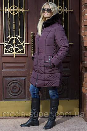 Зимнее  пальто-пуховик с эко-мехом мутона рр  50-58, фото 2