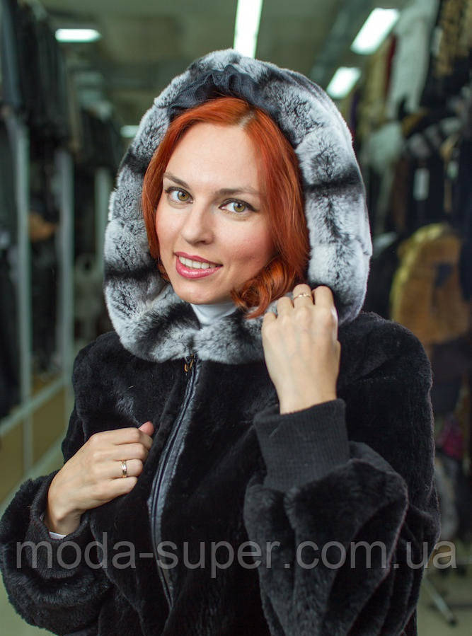 Практична жіноча куртка з хутра бобра і обробкою з хутра шиншила рр 42-58