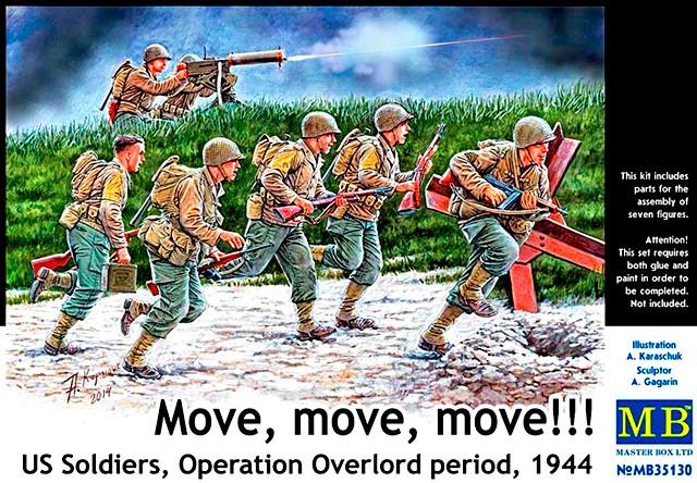 """Американские солдаты, период Операции """"Оверлорд"""", 1944. Набор фигурок в масштабе 1/35. MASTER BOX 35130"""