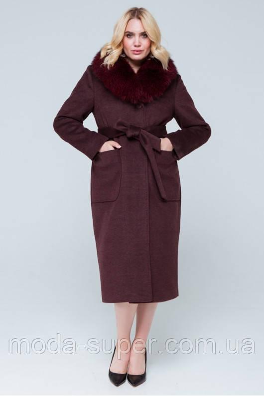 Зимнее пальто с шелевым воротником,большие размеры   рр 48-56
