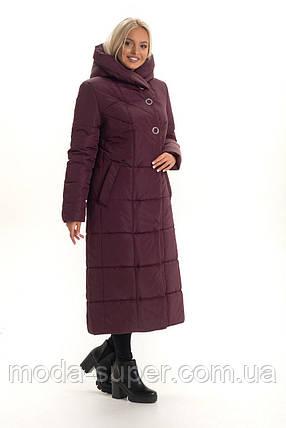 Жіночий стильний пуховик з об'ємним коміром-капюшоном рр 46-58, фото 2