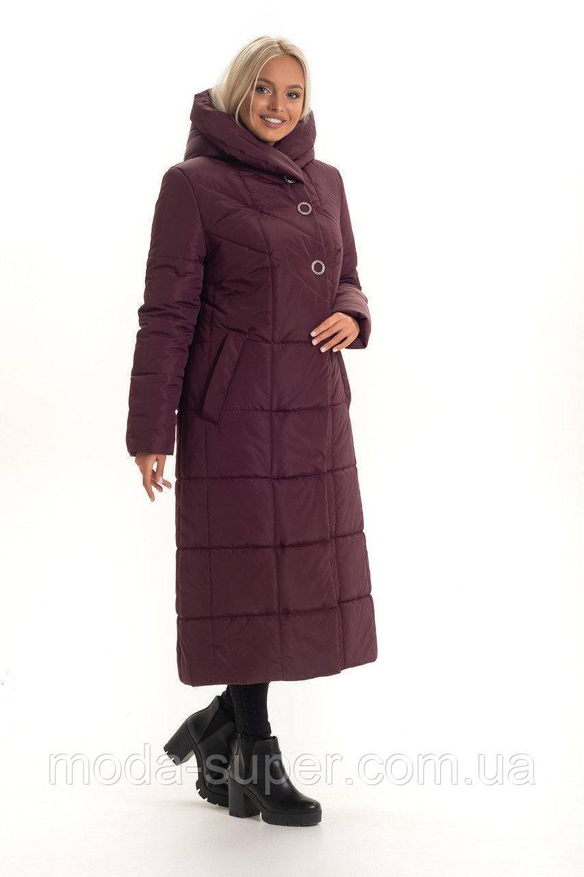 Жіночий стильний пуховик з об'ємним коміром-капюшоном рр 46-58