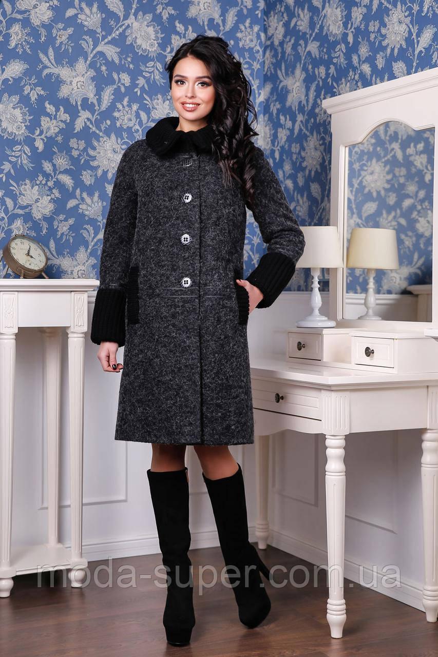 Женское пальто деми с довязом  рр 44-54