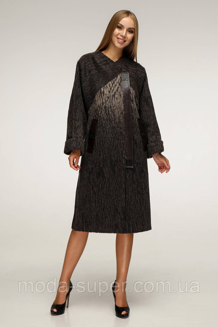 Пальто жіноче з обробкою з еко-шкіри рр 44-54
