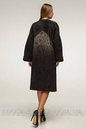 Пальто жіноче з обробкою з еко-шкіри рр 44-54, фото 2