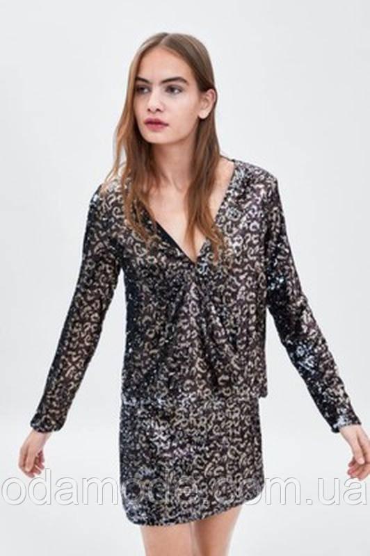 Блуза женская ZARA золотистая/коричневая