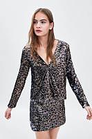 Блуза женская ZARA золотистая/коричневая, фото 1