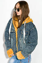 Женская молодежная джинсовая куртка с меховыми манжетами  рр L М XL