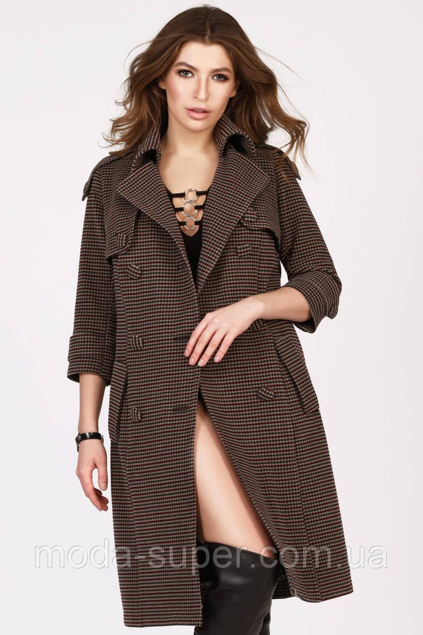 Женское пальто в мелкую клетку рр 42-48