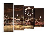 Коричнивые Часы картина модульная для декора дома Сияние бруклинского моста 30x90 30x80 30x70 30x60 см