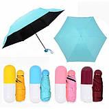 Компактный зонтик с капсулой для удобного хранения женские и мужские модели, фото 4