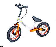 Велобег (Беговел) детский с надувными колесами Scale Sports, Бело-оранжевый