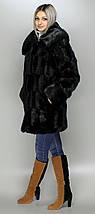 Жіноча шуба з капюшоном Чорна зко-норка, фото 2