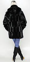 Жіноча шуба з капюшоном Чорна зко-норка, фото 3