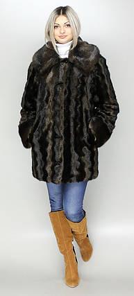Роскошная женская шуба коричневая норка,эко-мех,с капюшоном,рр 44-58, фото 2