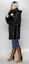 Роскошная женская шуба коричневая норка,эко-мех,с капюшоном,рр 44-58, фото 3