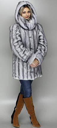 Жіночий кожушок сіро-блакитна норка,еко-хутро,з капюшоном,рр 44-58, фото 2