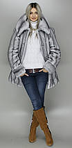 Жіночий кожушок сіро-блакитна норка,еко-хутро,з капюшоном,рр 44-58, фото 3
