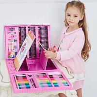 """🔝 Набор для рисования детский """"Чемодан творчества 208 предметов"""" Розовый (набір для малювання) для детей   🎁%🚚"""