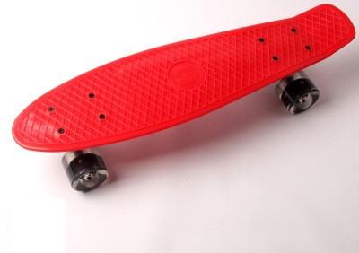 """Пенни борд (Penny Board) 22\"""" \""""Fish\"""" со светящимися колесами, Красный"""