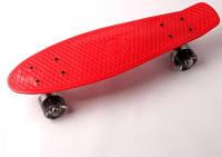 """Пенни борд (Penny Board) 22\"""" \""""Fish\"""" со светящимися колесами, Красный, фото 1"""
