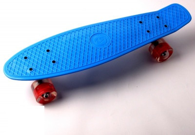 "Пенни борд (Penny Board) 22\"" \""Fish\"" со светящимися колесами, Синий"