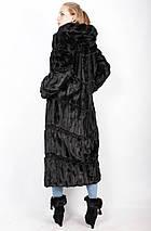 Подовжена шубка їх еко-хутра,чорна норка рр 42-56, фото 3