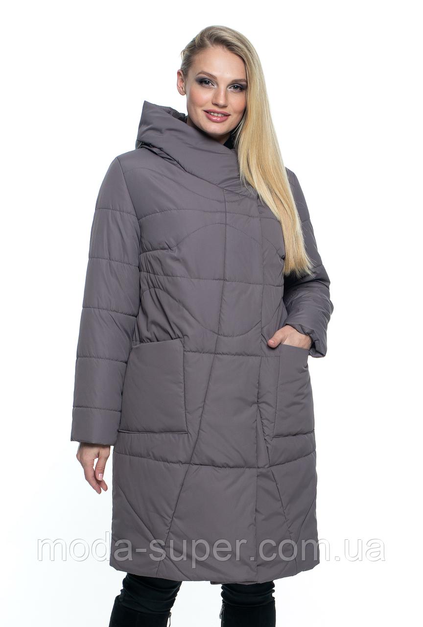 Женская весенняя удлинённая куртка с капюшоном  рр 46-60